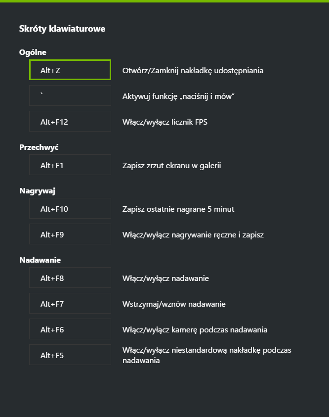 GeForce Experience problem ze skrótem Ctrl+z
